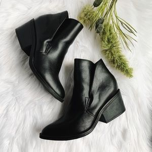 Vegan Leather Side Cut Booties
